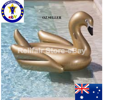 Inflatable Golden Swan Giant Pool Float Aussie Stock Gold Swan Pool Party Toy