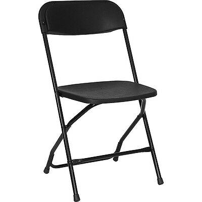 (10) Plastic Folding Chairs Commercial Black Stackable Party Chair