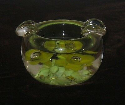 Vintage StC St Clair Paperweight/Ashtray Yellow/Green Flowers/Controlled Bubbles