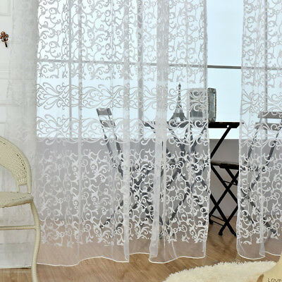 Window Curtain Drape Panel Tulle Scarf Valance Sheer Voile Room Divider White