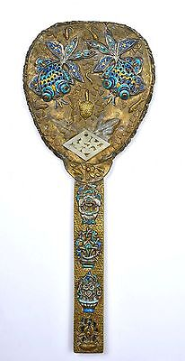 Early 20C Chinese Gilt Brass Silver Enamel Goldfish Serpentine NOT JADE Mirror