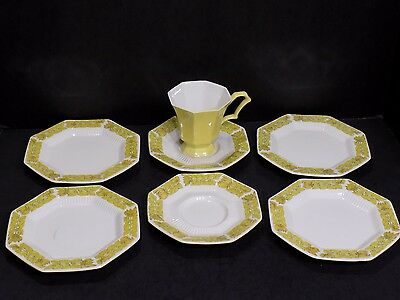 7 Pc Lot Vintage Independence Ironstone Japan Yellow Daffodil Bread Plates Cup