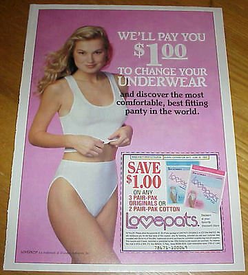 Girl in Panties Lovepats 1993 Ad We'll Pay You To Change Your Underwear #121416