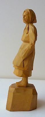 Vintage Quebec or French Folk Art Hand Carved Wooden Figurine of a Woman