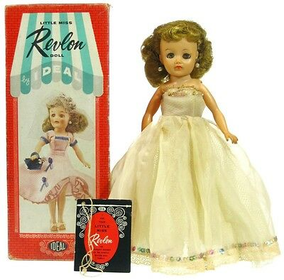 Vintage 1950's Ideal Little Miss Revlon Doll Upsweep Blonde w/Box & Hang Tag