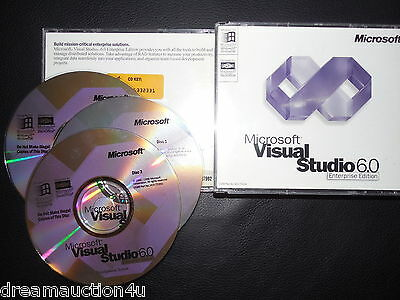 Microsoft Visual Studio 6.0 Enterprise VE VS  6 BASIC FOXPRO C++ RETAIL CD's