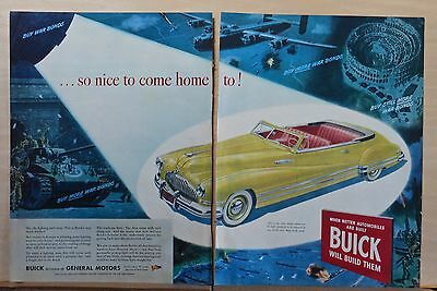 1945 two page magazine ad for Buick - Victory in Europe, 1942 Buick convertible
