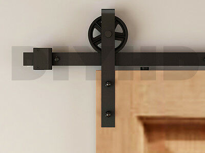 6/8ft Vintage Strap Industrial Wheel Sliding Barn Wood Door Hardware Track Kit
