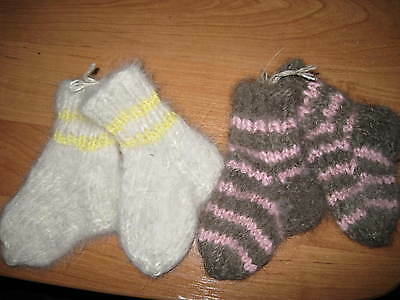 Kid baby toddler socks dogs hair down yarn wool handknit Russian craft fuzzy