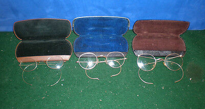 3 pair vintage gold Harry Potter type EYEGLASSES Squire DEFI FUL-VUE A/O cases