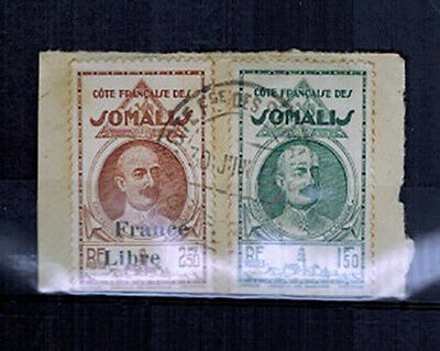 1938.39 - 2 TIMBRES/COLONIES -SOMALIS-FRAGMENT - Yt.163/-228 LOT(C.6)
