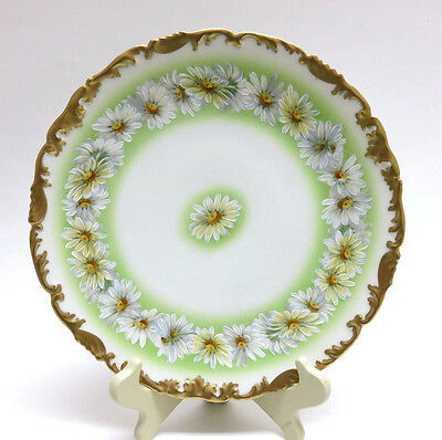 Antique LIMOGES, FRANCE White Marguerite Daisies Floral & Gilt Cabinet Plate