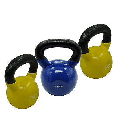 8KGx2 + 16KG = TOTAL 32KG IRON VINYL KETTLEBELL WEIGHT GYM STRENGTH TRAINING