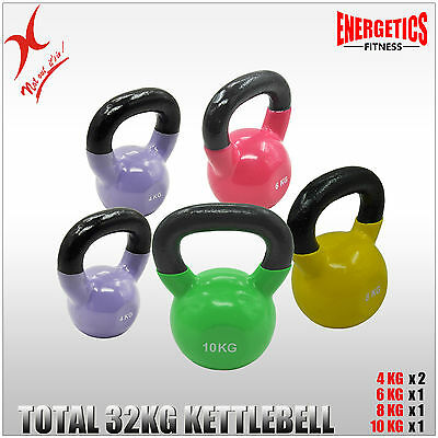 4KGx2 + 6KG + 8KG + 10KG = TOTAL 32KG IRON VINYL KETTLEBELL WEIGHT TRAINING