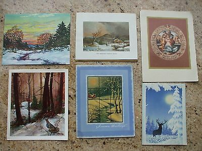 Vintage Christmas Cards Classic Nature Currier Ives Deer Silhouette Holy Family