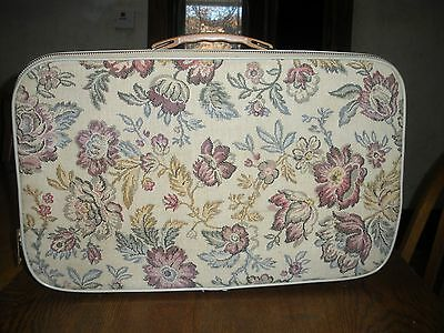 """vintage tapestry small  suicase over night case train  17 1/2"""" X  10 1/2""""  NICE"""
