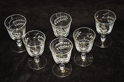 6 Lovely Vintage Wine Glasses Cut & Frosted 1950,s