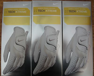 3 Nike Tech Xtreme Women's Golf Gloves-Size L (22 cm.)..Right (Left hand golfer)