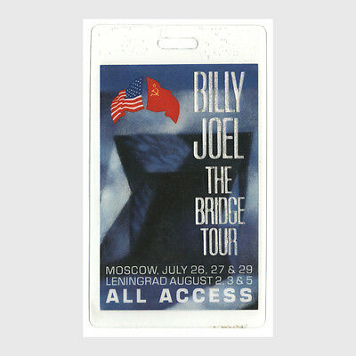 Billy Joel authentic 1986 concert tour Laminated Backstage Pass