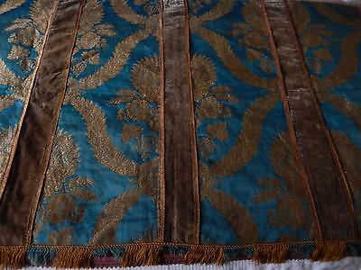 Antique Decorative Gold Metallic & Blue Silk Brocade Hanging Country House