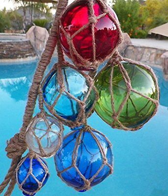 Japanese Glass Art Fishing Floats Vintage Fish Nautical Decor, 6 Ball Antique