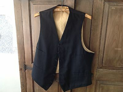 Handsome Vintage 40S Brooks Brothers Vest Waistcoat Black Pinstripe 6 Button