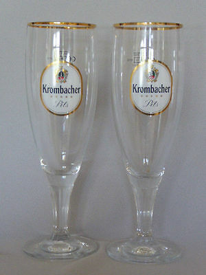 A Pair of Krombacher German Half Pint Beer Glasses New Condition