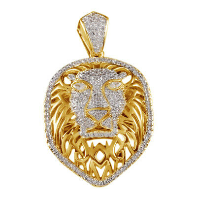 18K Yellow Gold Over Iced Out CZ Tiger King Lion Ball Pendant