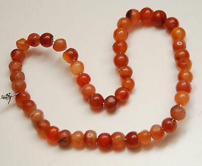 """OLD CARNELIAN Agate African Trade Beads_Approx. 8mm_47 Pcs._12 1/2"""" Long"""