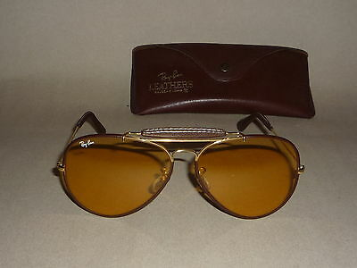Wie Neu! Vintage Ray Ban USA B&L Leathers Outdoorsman Ambermatic 62 14 orig case