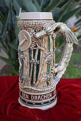 "13"" Dragon Handle Beer Stein Young Siegfried Slaying the Dragon"