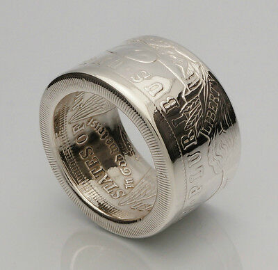 Coin Ring *Top Quality* 90% Silver Morgan Dollar - Date Outside - Sizes 7-14