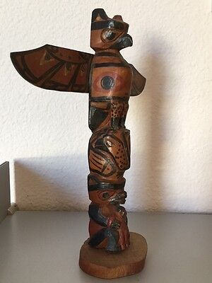 Northwest Coast Indian Model Totem Pole, Complex & Detailed Figuration, Vintage