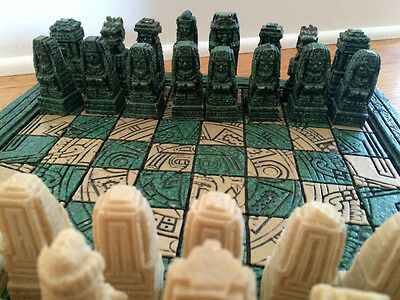 collectible stone chess set mayan aztec design beige green incan empire game