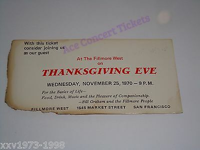 Rare Bill Graham 1970 Thanksgiving Eve Private Concert Ticket Fillmore West Usa