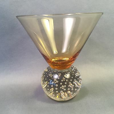 Weighted CONTROLLED BUBBLE BASE Clear and Amber Glass COCKTAIL GLASS
