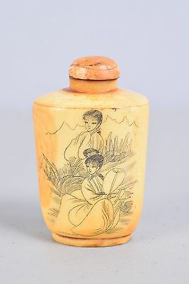 Extraordinary Antique Chinese Carved and Painted Beautiful Maidens Snuff Bottle