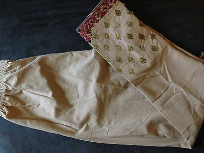 Pakistani Khaadi pants leggings embroidered khaki sz 14