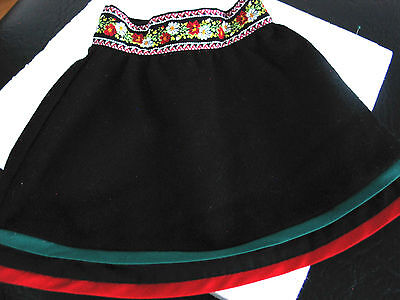 Authentic American Girl Kirsten Black Wool Skirt,floral band and red/green trim