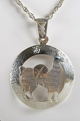 HUGE Retro Solid Sterling Silver 925 Llama Designer Signed Pendant Necklace
