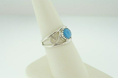 Vintage Retro Genuine Silver Plated Ring with Faux Turquoise Size 7
