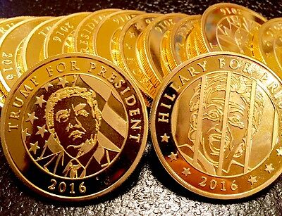 """ONLY 300 MADE!! 2016 """"HILLARY FOR PRISON"""" LARGE TRUMP GOLD PL COIN 1oz NICE!!!!"""
