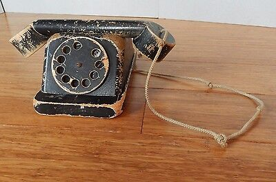 Vintage CREATIVE PLAYTHINGS Black Wooden Telephone Antique Toy