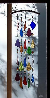 Handmade Handcrafted Stained Glass Copper Beaded Wind Chime Suncatcher