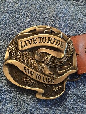 Harley Davidson Motorcycles Live to Ride Ride to Live Eagle Logo Belt Buckle