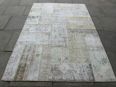 Old Traditional Hand Made Persian Oriental Patchwork Wool Faded Rug 246x173cm