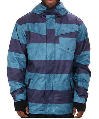 QuikSilver Men s 10K Mission Snow Jacket   Blue Stripes   XS    Retail  179.00 82bbb340cc