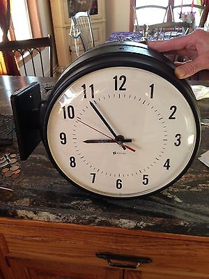 VINTAGE INDUSTRIAL WALL CLOCK DOUBLE SIDED Simplex Duluth Public Schools MN