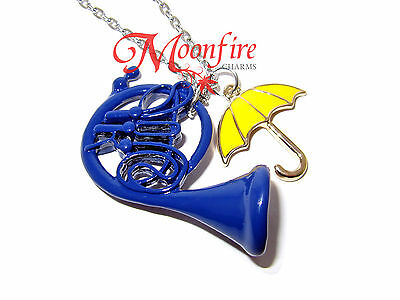 How I Met Your Mother Blue French Horn Yellow Umbrella Pendant Necklace