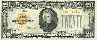 1928  $20  Gold Certificate ~ Bright Bold & Crisp About Uncirculated Note